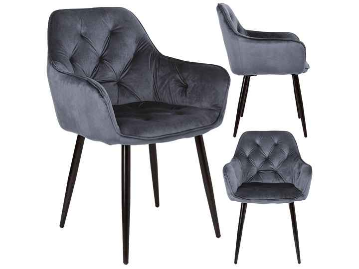 Krzesło welurowe Nevada VELVET Grafitowe Metal Wysokość 85 cm Tkanina Krzesło inspirowane Szerokość 59 cm Skóra Tapicerowane Tworzywo sztuczne Głębokość 61 cm Styl Skandynawski