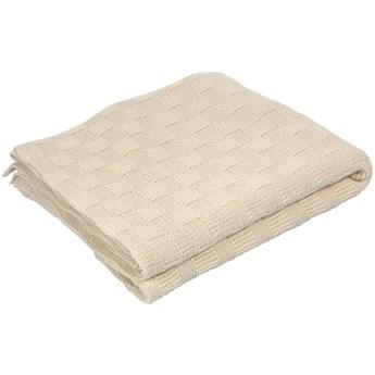 Koc Saian z kwadratami 100% bawelna bezowy 125 x 150 cm