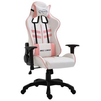 Biało-różowy ergonomiczny fotel gamingowy - Kento