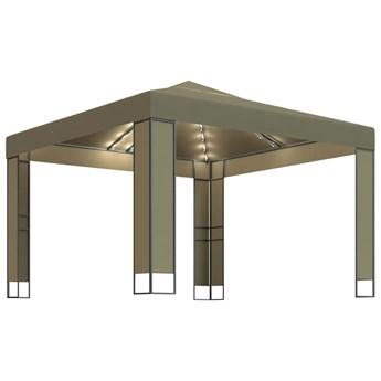 vidaXL Altana z podwójnym dachem i sznurem lampek, 3x3x2,7 m, taupe