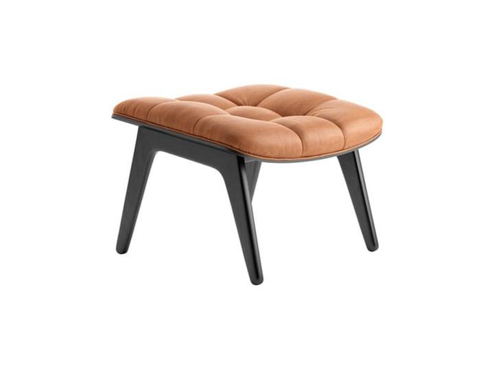 Taboret podnóżek z tapicerowanym siedziskiem Mammoth - drewno dębowe czarne Black skóra Cognac NORR1 ...