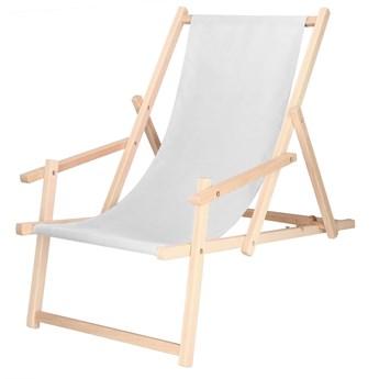 Leżak drewniany z podłokietnikami jasny szary
