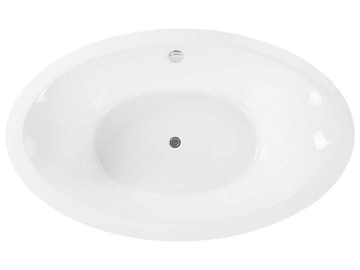 Wanna wolnostojąca biała akrylowa 170 x 105 cm system przelewowy owalna retro Kolor Biały Długość 170 cm Wolnostojące Kategoria Wanny