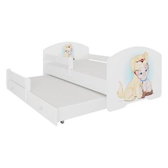 SELSEY Łóżko dziecięce podwójne Blasius 140x70 cm Pies i Kot z barierką