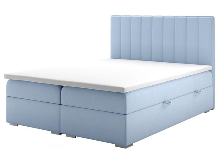 SELSEY Łóżko kontynentalne z pojemnikiem Hunbert Łóżko tapicerowane Kolor Drewno Tkanina Kategoria Łóżka do sypialni