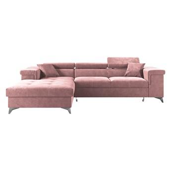 SELSEY Narożnik z funkcją spania Mikkara w tkaninie hydrofobowej różowy