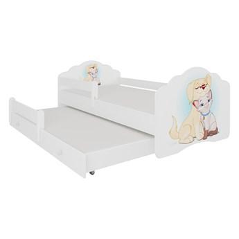 SELSEY Łóżko dziecięce podwójne Ruhsen 140x70 cm Pies i kot z barierką