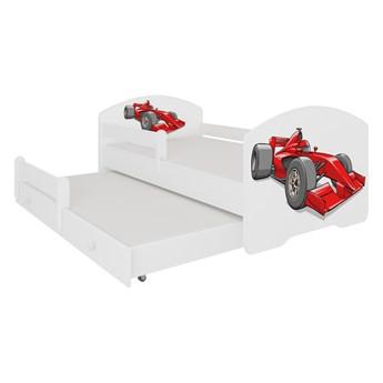 SELSEY Łóżko dziecięce podwójne Blasius 140x70 cm Samochód wyścigowy z barierką