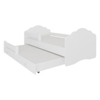 SELSEY Łóżko dziecięce podwójne Ruhsen 140x70 cm białe z barierką