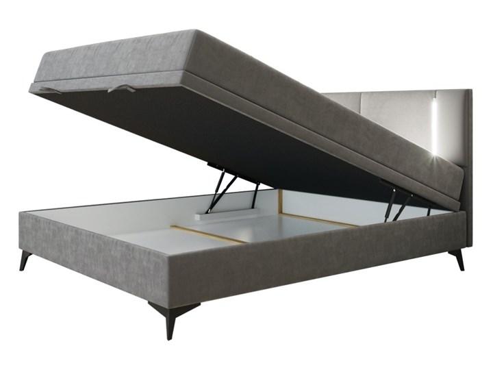 SELSEY Łóżko kontynentalne Evangelina z pojemnikiem i oświetleniem LED Metal Łóżko tapicerowane Tkanina Kategoria Łóżka do sypialni