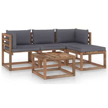 vidaXL 5-cz. zestaw wypoczynkowy do ogrodu, antracytowe poduszki