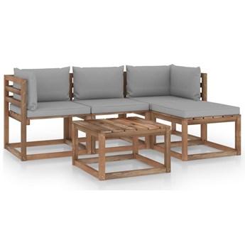 vidaXL 5-cz. zestaw wypoczynkowy do ogrodu z szarymi poduszkami