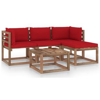 vidaXL 5-cz. zestaw wypoczynkowy do ogrodu, z czerwonymi poduszkami