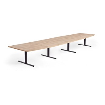 Stół konferencyjny MODULUS, 5600x1200 mm, rama T, czarna rama, dąb