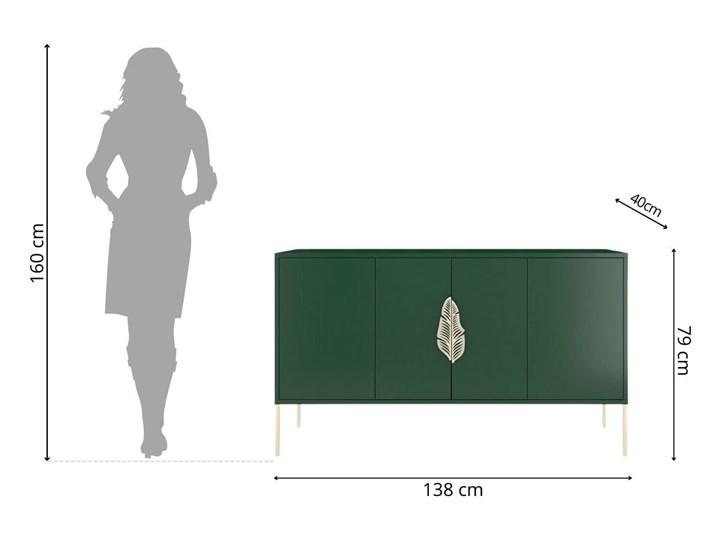 Zielona komoda Skandica MERLIN ze złotymi dodatkami Wysokość 79 cm Płyta MDF Styl Minimalistyczny Głębokość 40 cm Szerokość 138 cm Styl Nowoczesny