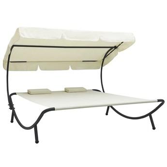 Kremowy leżak ogrodowy z baldachimem - Pafos 3X