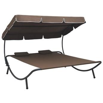 Brązowy dwuosobowy leżak z baldachimem - Pafos 3X