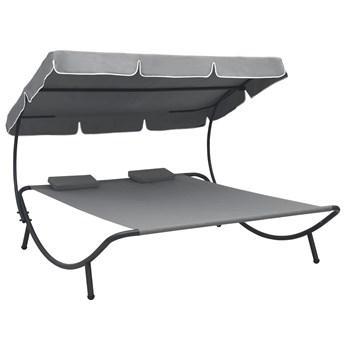 Szary podwójny leżak z baldachimem - Pafos 3X