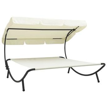 Kremowy dwuosobowy leżak ogrodowy z daszkiem - Martes