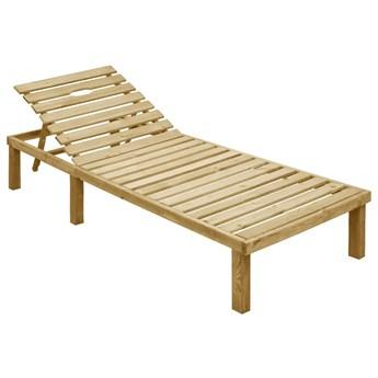 Brązowy leżak ogrodowy drewniany - Sofor