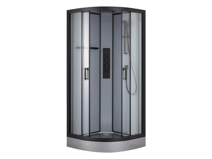 Kabina prysznicowa z hydromasażem GoodHome Beloya 90 cm półokrągła czarna Narożna Kolor Czarny