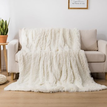 Koc włochacz futrzak 160x200 gruby Cotton World WLN-12 biały   Kup teraz®
