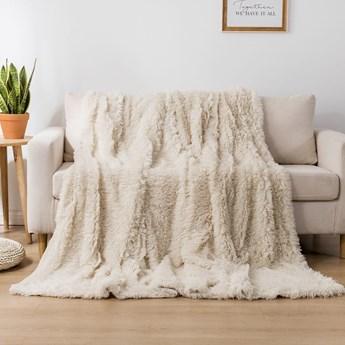 Koc włochacz futrzak 160x200 gruby Cotton World WLN-09 kremowy   Kup teraz®