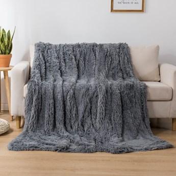 Koc włochacz futrzak 160x200 gruby Cotton World WLN-10 ciemny szary   Kup teraz®
