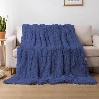 Koc włochacz futrzak 160x200 gruby Cotton World WLN-21 niebieski   Kup teraz®