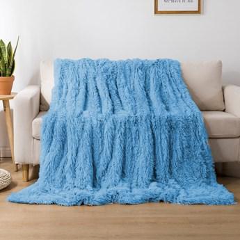 Koc włochacz futrzak 160x200 gruby Cotton World WLN-22 błękitny | Kup teraz®