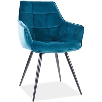 Pikowane krzesło z wysokimi podłokietnikami Lilia Velvet