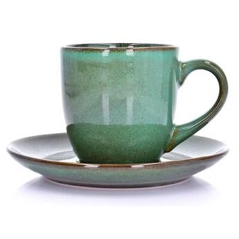 Filiżanka ze spodkiem DUKA MOSSA 250 ml zielony porcelana