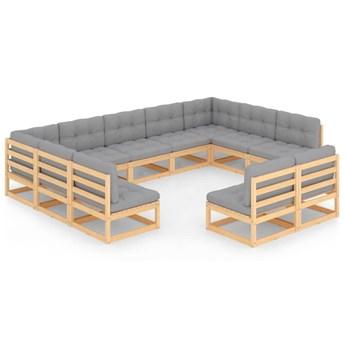 vidaXL 11-cz. zestaw wypoczynkowy do ogrodu, z poduszkami, lita sosna