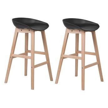Zestaw 2 krzeseł barowych czarne jasne drewniane nóżki plastikowe siedzisko bez oparcia