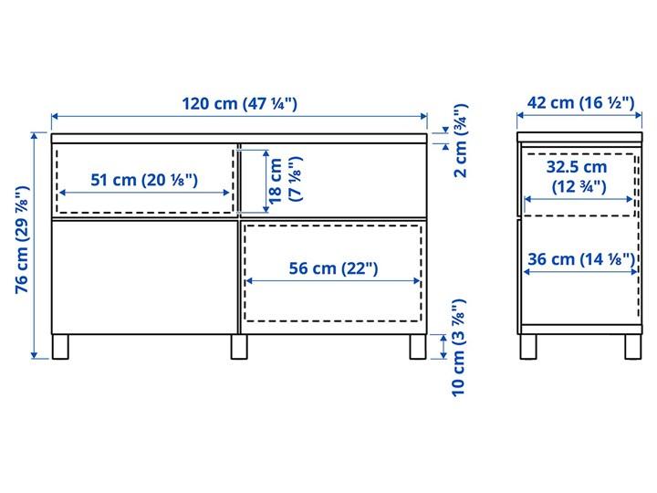IKEA BESTÅ Kombinacja regałowa z drzw/szuf, Biały/Smeviken/Kabbarp biały, 120x42x76 cm Drewno Głębokość 42 cm Płyta MDF Szerokość 120 cm Kategoria Komody