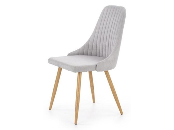 SELSEY Krzesło tapicerowane Muela jasnopopielate Drewno Metal Stal Tkanina Krzesło inspirowane Pomieszczenie Jadalnia Kategoria Krzesła kuchenne