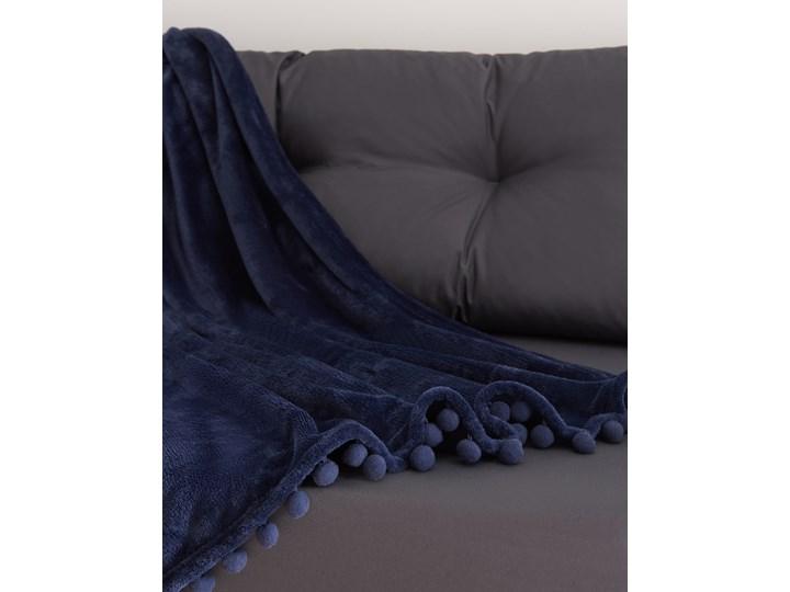 Sinsay - Koc z pomponami - Granatowy 130x160 cm Kategoria Koce i pledy