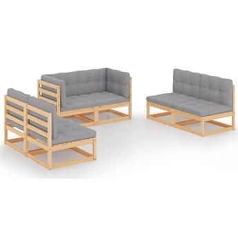 vidaXL 6-cz. ogrodowy zestaw wypoczynkowy z poduszkami, lita sosna