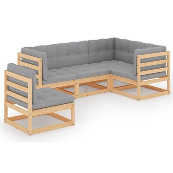vidaXL 5-cz. zestaw wypoczynkowy do ogrodu, z poduszkami, lita sosna