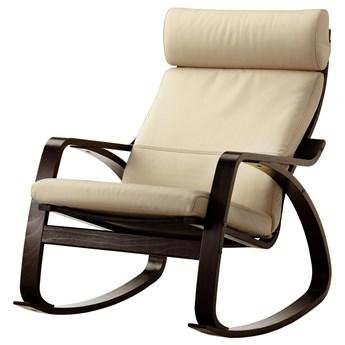 IKEA POÄNG Krzesło bujane, czarnybrąz/Glose złamana biel, Szerokość: 68 cm