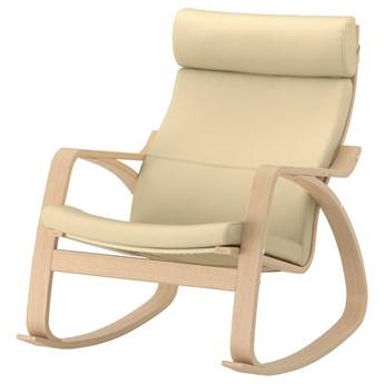 IKEA POÄNG Krzesło bujane, okleina dębowa bejcowana na biało/Glose złamana biel, Szerokość: 68 cm