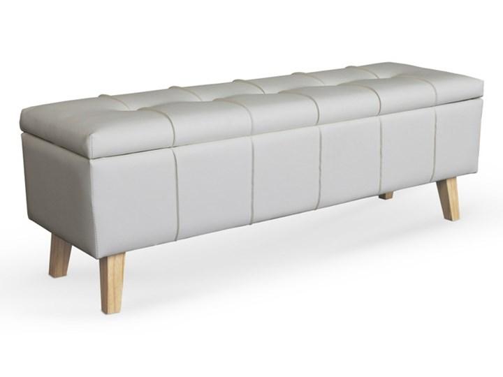 Ławka Massimo Popielaty / Velvet Pikowana Materiał nóżek Drewno