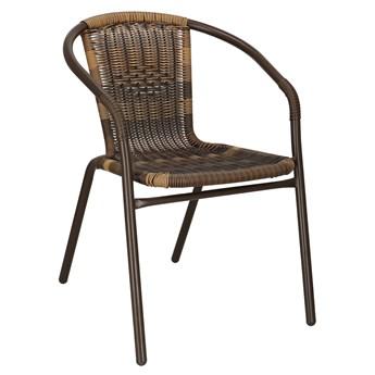 Krzesło ogrodowe metalowe brązowe plecione krzesło na balkon mix