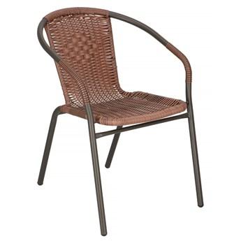 Krzesło ogrodowe metalowe na balkon brązowe