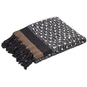 Koc Gravel bawelniany brazowo-czarny 130 x 170 cm