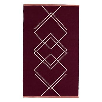 wyplatany dywan w geometryczne wzory, bordowy, Hübsch