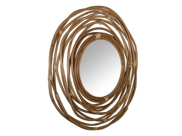 lustro Kubu z rattanową ramą, Dutchbone Okrągłe Ścienne Styl Skandynawski Pomieszczenie Salon