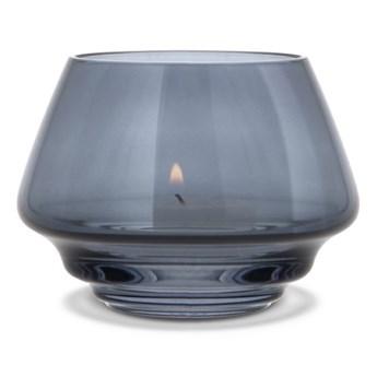 szklany świecznik Flow, Ø10 cm niebieski, Holmegaard