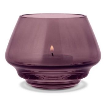 szklany świecznik Flow, Ø10 cm śliwkowy, Holmegaard