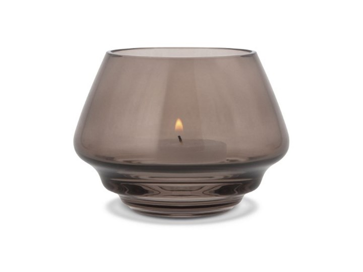 szklany świecznik Flow, Ø10 cm przydymiony, Holmegaard